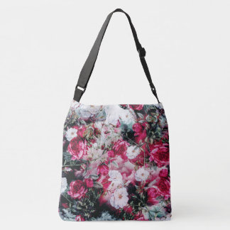 Victorian Roses Floral pink mauve white black Crossbody Bag