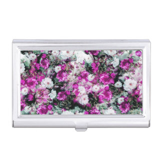 Victorian Roses Floral pink purple white black Business Card Case