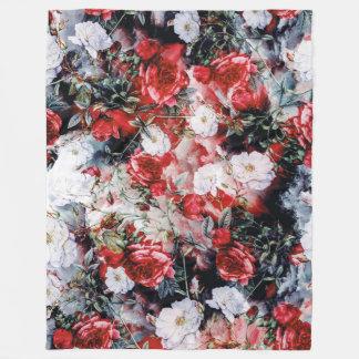 Victorian Roses Floral red white black Fleece Blanket