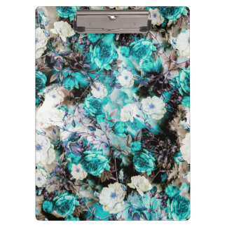 Victorian Roses Floral turquoise teal white black Clipboard