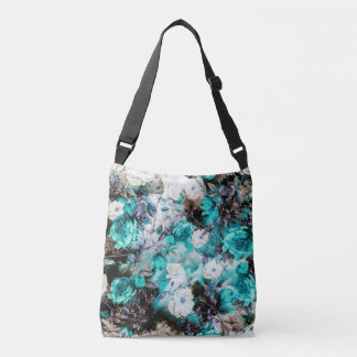 Victorian Roses Floral turquoise teal white black Crossbody Bag