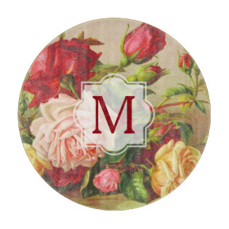 Victorian Roses Monogram Vintage Bouquet Flowers Cutting Board