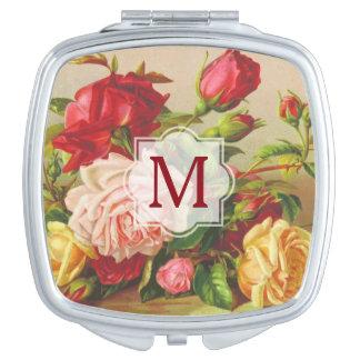 Victorian Roses Monogram Vintage Bouquet Flowers Vanity Mirror