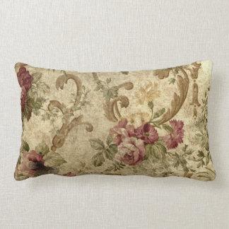 Victorian roses on lumbar throw pillow