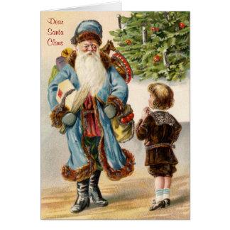Victorian Santa and Boy Christmas Greeting Card
