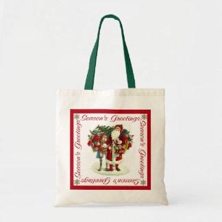 Victorian Santa and Donkey Canvas Bags