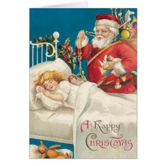 Victorian Santa and Sleeping Child Christmas Card