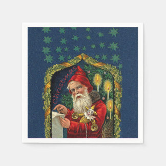 Victorian Santa Checking List Candles Holly Paper Serviettes