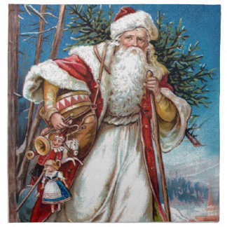 Victorian Santa Claus in Red Velvet and White Fur Napkin