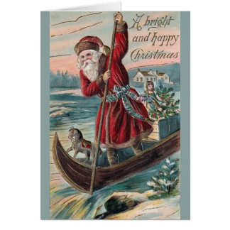Victorian Santa in Canoe Christmas Greeting Card