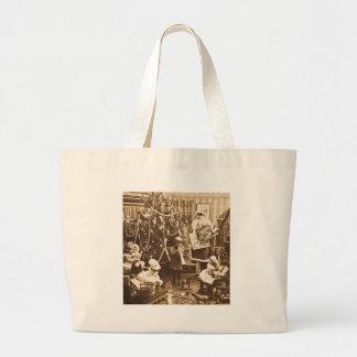 Victorian Santa Vintage Stereoview Sepia Bags