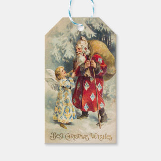Victorian Santa with Angel Delivering Toys Gift Tags