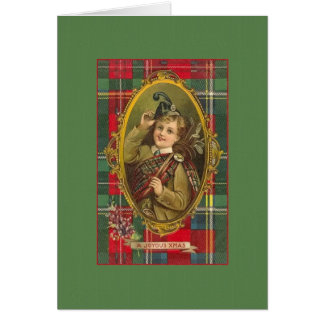 Victorian Scottish Bagpipes Christmas Card