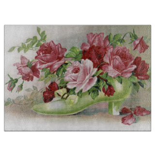Victorian Shoe Full of Roses Cutting Board