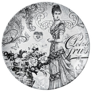 Victorian silver Decorative Porcelain Plate