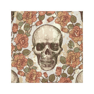 Victorian skull and roses canvas art.