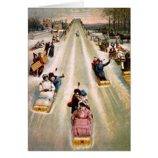 Victorian Sledding Hill Vintage Christmas Greeting Card