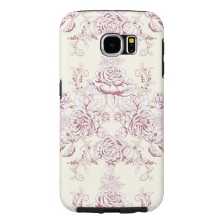 Victorian,soft yellow, soft pink,floral,pattern,vi samsung galaxy s6 cases