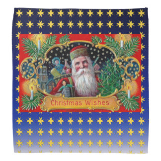 Victorian St. Nick with Gold Stars and Toys Bandana