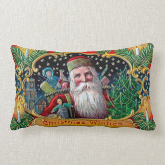 Victorian St. Nick with Gold Stars and Toys Lumbar Cushion