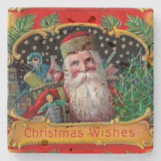Victorian St. Nick with Gold Stars and Toys Stone Coaster