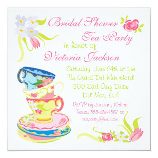 Victorian Stacked Tea Cups Tea Party Bridal Shower 13 Cm X 13 Cm Square Invitation Card