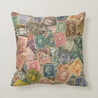 Victorian Stamp Collage Throw Pillow