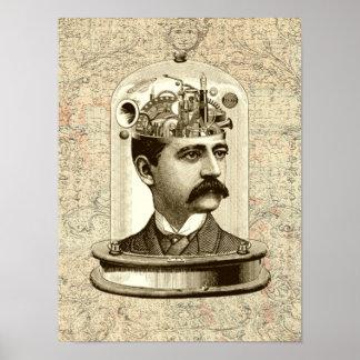Victorian steampunk clockwork brain mechanical poster