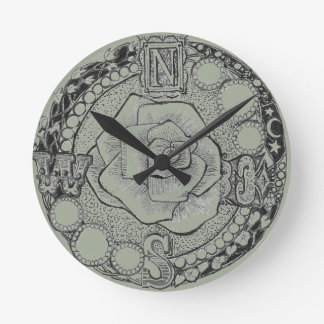 Victorian Steampunk Compass Rose Wall Clock