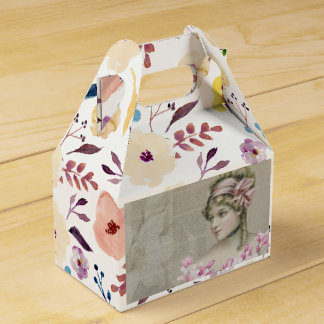 Victorian Steampunk Lady Pink Newspaper Gable Wedding Favour Boxes