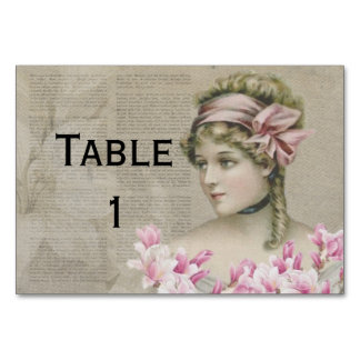 Victorian Steampunk Lady Pink Newspaper Tablecard Table Cards