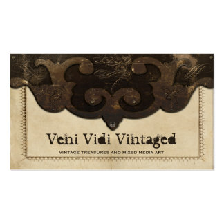 Victorian Steampunk Leather Flap Business Cards