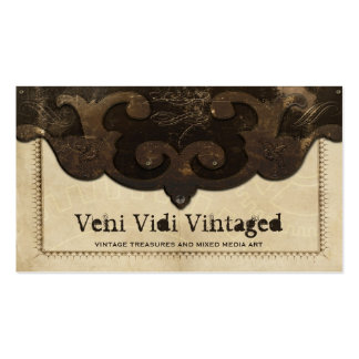 Victorian Steampunk Leather & Gears Business Cards