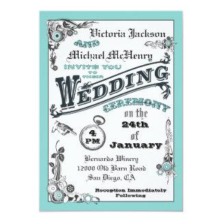 "Victorian Steampunk Wedding Invitations 5"" X 7"" Invitation Card"