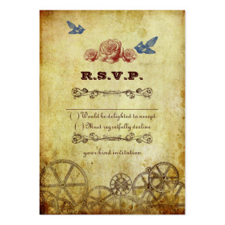 Victorian Steampunk Wedding RSVP Card Large Business Cards (Pack Of 100)