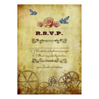 Victorian Steampunk Wedding RSVP Card Business Card Template