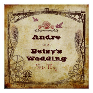 """Victorian Steampunk Wedding: """"This Way"""" Sign Poster"""