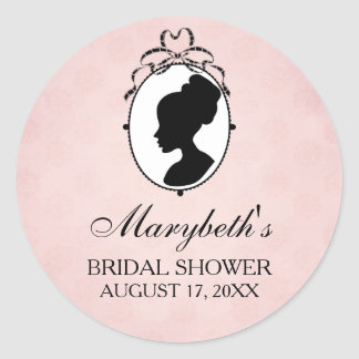 Victorian Style 60s Cameo Bridal Shower Favor Classic Round Sticker