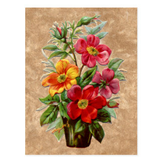 Victorian style embossed effect floral display postcard