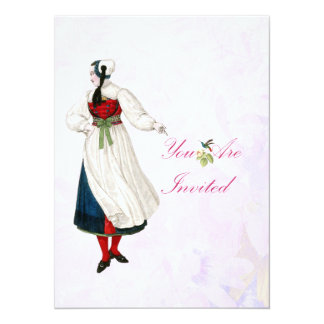 Victorian Swiss Woman Card