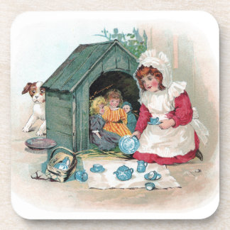 Victorian Tea Party in Doghouse Beverage Coasters
