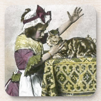 Victorian Tea Time With Kitty Tea Party Vintage Beverage Coaster