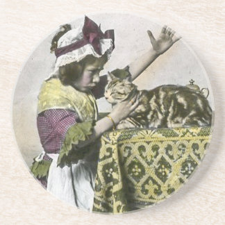 Victorian Tea Time With Kitty Tea Party Vintage Drink Coaster