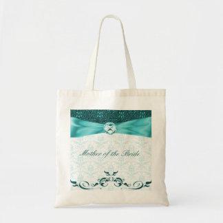 Victorian Teal Damask Mother of the Bride Bag/tote Budget Tote Bag