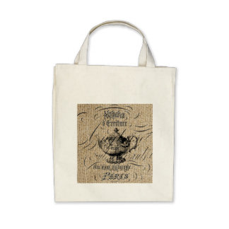 victorian teapot design on burlap background tote bag