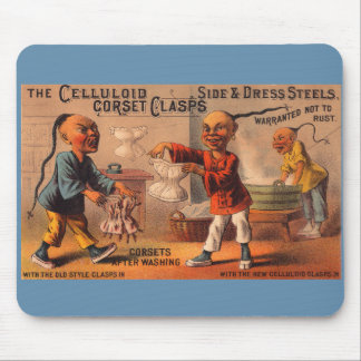 Victorian trade card celluloid corset clasps mouse pad