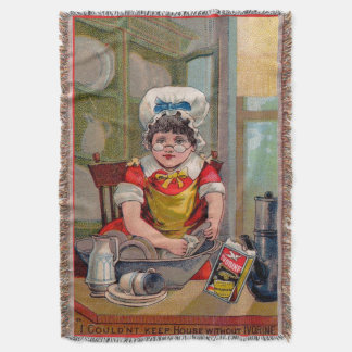 Victorian trade card for Ivorine soap Throw Blanket