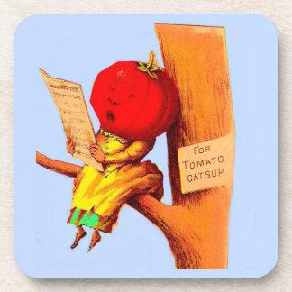 Victorian trade card tomato head woman coaster