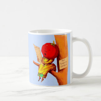 Victorian trade card tomato head woman coffee mug
