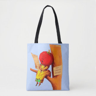 Victorian trade card tomato head woman tote bag